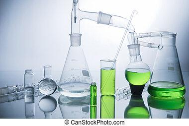 Laboratory glassware over white