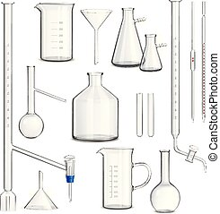 Laboratory Glassware Set - Laboratory glassware set with...