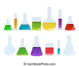 Laboratory glassware set with colored liquids. Group of chemistry accessories. Medical test dishes.