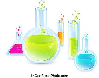 Laboratory glassware: Test Tubes With Multicoloredn Liquides