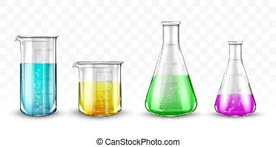 Laboratory glassware with colorful liquids on transparent ...
