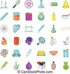 Laboratory icons set, cartoon style