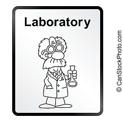 Laboratory Information Sign - Monochrome comical laboratory...