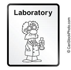 Laboratory Information Sign - Monochrome comical laboratory ...