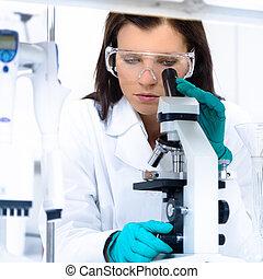 laboratory., jeune, chimiste