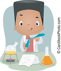 Laboratory Kid - Illustration of a Boy Mixing Chemicals in a...