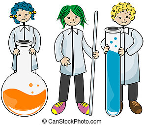 Laboratory Kids with Clipping Path