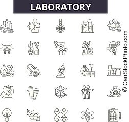 Laboratory line icons, signs set, vector. Laboratory outline concept, illustration: laboratory, medical, science, research, chemistry, medicine, test, biology