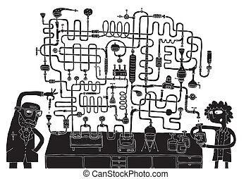 Laboratory Maze Game in black and white with isolated...