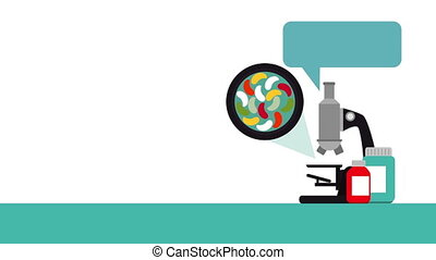 laboratory microscope medical test animation