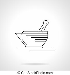 Laboratory mortar and pestle flat line vector icon