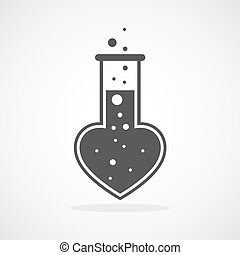 Laboratory of the Love. Vector illustration - Test tube icon...