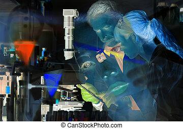 laboratory., professionelle, hälsa, vetenskaplig, omsorg