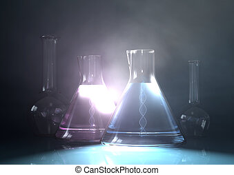 Laboratory Research - 3d illustration with beakers with dna...