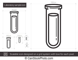 Laboratory sample line icon.