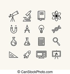 education flat icon set, science icon set