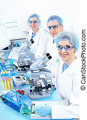Laboratory - Science team working with microscopes at...