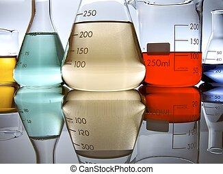 laboratory - several glassware with color liquid