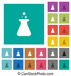 Laboratory square flat multi colored icons