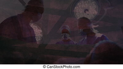Animation of shapes and moving lights over group of surgeons in operating theatre. Global coronavirus pandemic concept digitally generated image