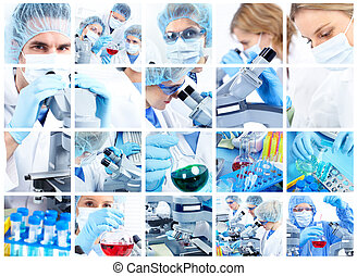 Laboratory - Scientific people working with a microscope in...