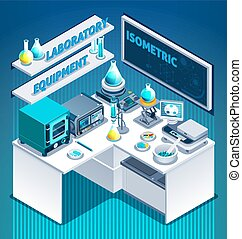 Laboratory Table Isometric Composition