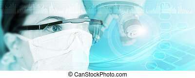 laboratory technician in abstract blue background, 3d illustration