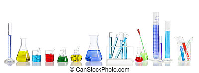 laboratory test flask containing colorful liquids. Panoramic composition.