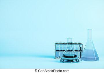 Laboratory test tubes on blue background.