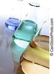 laboratory - three flasks with color liquid