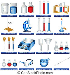A collection illustration of different laboratory tools.