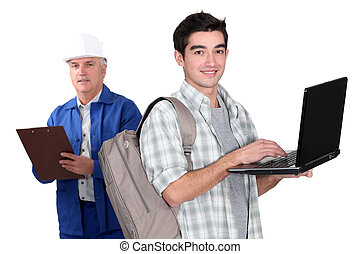 Laborer and student with computers
