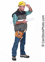 laborer on white background