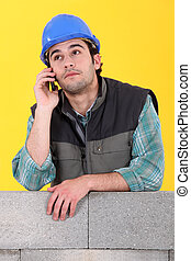 Laborer with cellphone