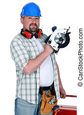 Laborer with circular saw