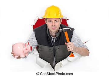 Laborer with hammer and piggy bank