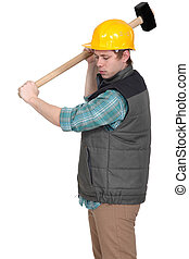 Laborer with hammer