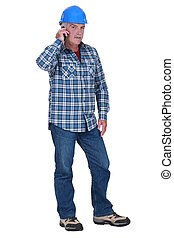 Laborer with mobile phone