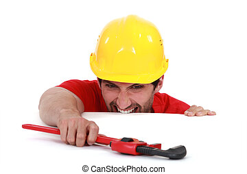 Laborer with vernier calipers