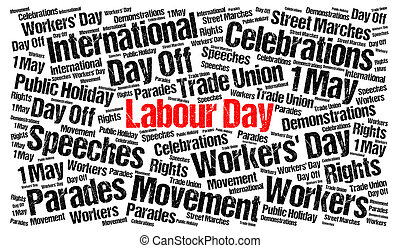 Labour day 1st may word cloud illustration