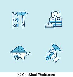 Labour day blue color icons set