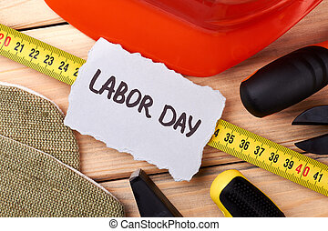 Labour Day card among instruments.