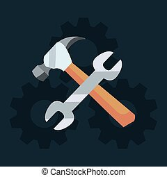 labour day card - hammer and wrench tools labour day vector...