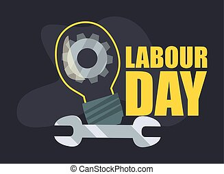 labour day card - light bulb gear spanner labour day vector...