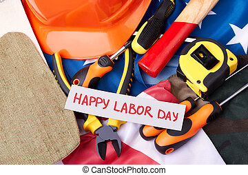 Labour Day card on flag.