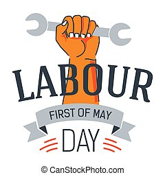 Labour day icon hand holding wrench May holiday - May...