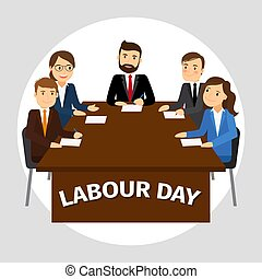 Labour Day poster - Labour Day vector poster, business team...