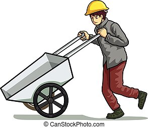 labour man trolley the cart vector illustration