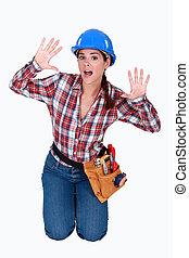 Labourer calling for help