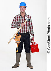 Labourer carrying tool-box